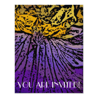 Flower Power in Purple and Yellow 4.25x5.5 Paper Invitation Card