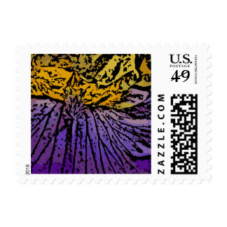 Flower Power in Purple and Yellow Stamp