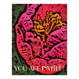 Flower Power in Red and Yellow 4.25x5.5 Paper Invitation Card