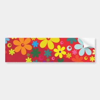 Flower Power in Red Car Bumper Sticker