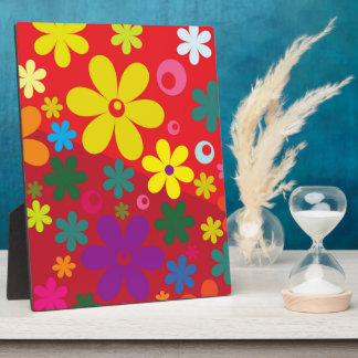 Flower Power in Red Photo Plaque