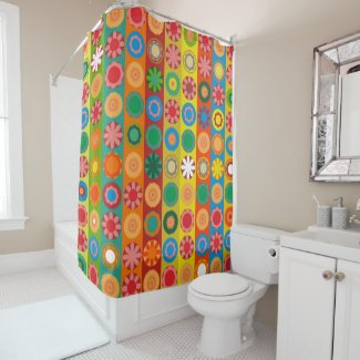 Flower Power in Rows Shower Curtain