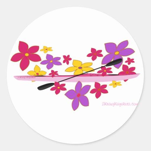Flower Power Kayak Round Sticker
