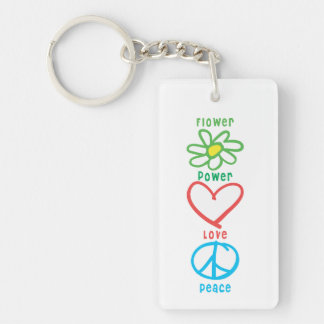 Flower Power Love and Peace Keychain