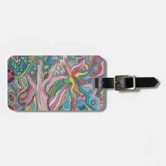 flower power travel bag tag