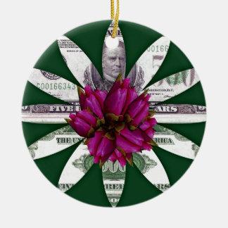 Flower Power Money Ceramic Ornament
