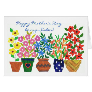 Flower Power Mother's Day Card for a Sister