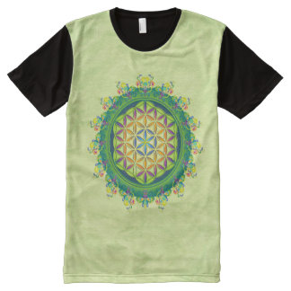 Flower Power of Life / Blume des Lebens - green All-Over Print T-shirt