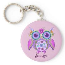 Flower power Owl & custom Name Keychain