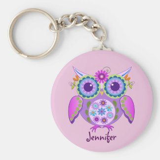 Flower power Owl & custom Name Keychain