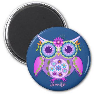 Flower power Owl & custom Name Magnet