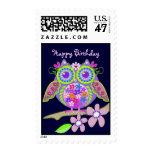 Flower Power Owl Happy Birthday postage