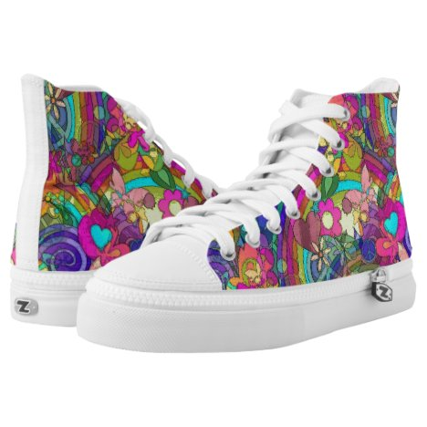 Flower Power Pattern 04 + your ideas High-Top Sneakers