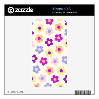 Flower Power Pattern – Yellow Background iPhone 4 Decals