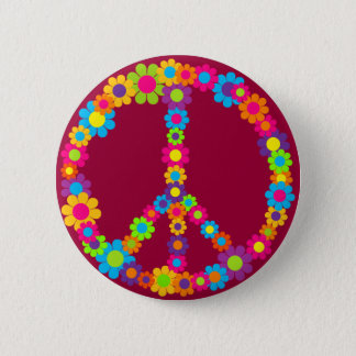 Flower Power Peace Button
