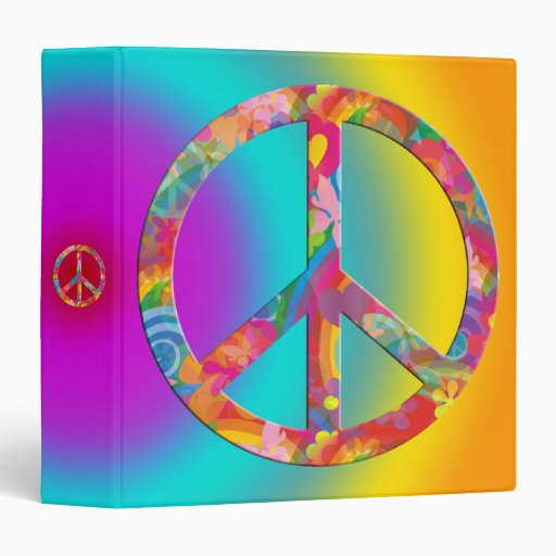 Flower Power Peace | coloured shine 3 Ring Binders