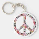 Flower Power Peace I Basic Round Button Keychain