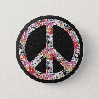 Flower Power Peace I   black splatter Button