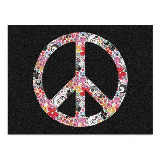 Flower Power Peace I | black splatter Postcard