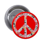 Flower Power Peace I | fire red splatter 2 Inch Round Button