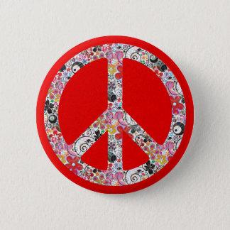 Flower Power Peace I   fire red splatter Pinback Button