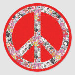 Flower Power Peace I | fire red splatter Round Stickers
