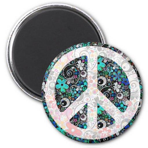 Flower Power Peace II   light Fridge Magnets
