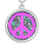 Flower Power Peace II | pink Round Pendant Necklace