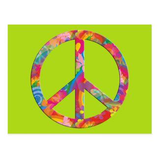 Flower Power Peace | lightgreen Postcard