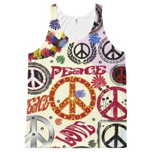 e6585204421 Flower Power Peace & Love Hippie All-Over-Print Tank Top