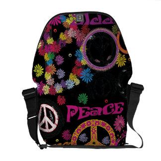 Flower Power Peace & Love Hippie Messenger Bag