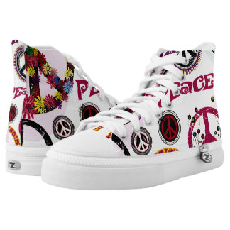 Flower Power Peace Love Printed Shoes