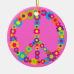 Flower Power Peace Double-Sided Ceramic Round Christmas Ornament
