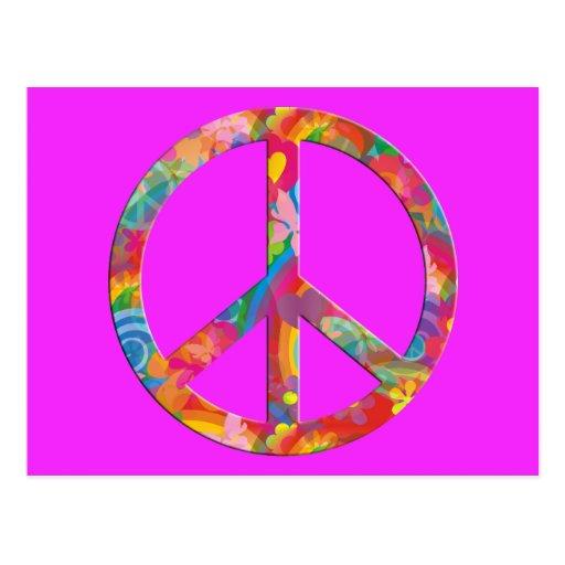 Flower Power Peace | pink Postcard