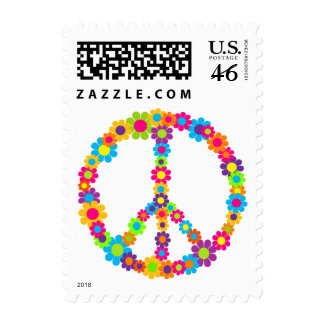 Flower Power Peace Postage