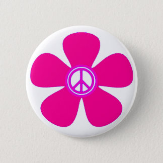 Flower Power Peace Sign Button