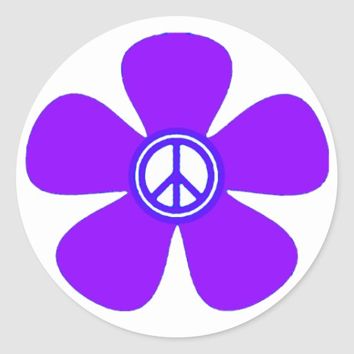 Flower Power Peace Sign Classic Round Sticker