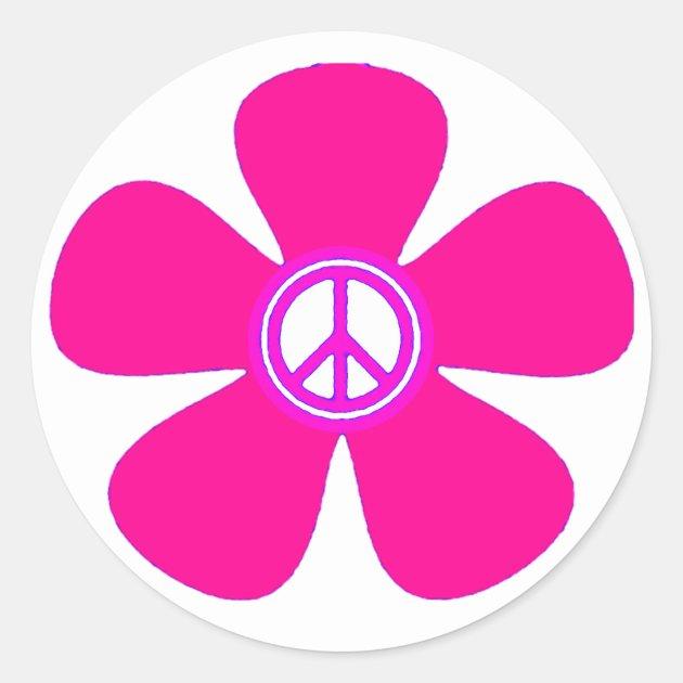 Flower Power Peace Sign Classic Round Sticker Zazzle Com