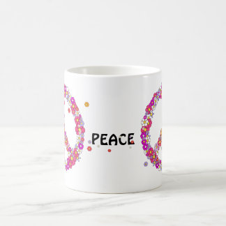FLOWER POWER PEACE SIGN COFFEE MUG
