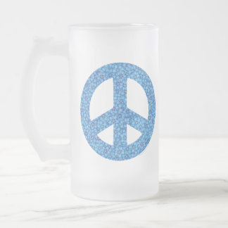 Flower Power Peace Sign Frosted Glass Beer Mug