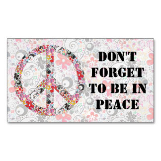 Flower Power Peace sign I + your backgr. & ideas Magnetic Business Card