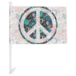 Flower Power Peace sign II + your backgr. & ideas Car Flag