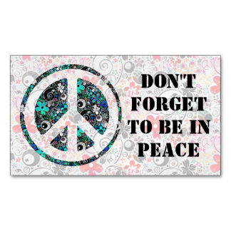 Flower Power Peace sign II + your backgr. & ideas Magnetic Business Card