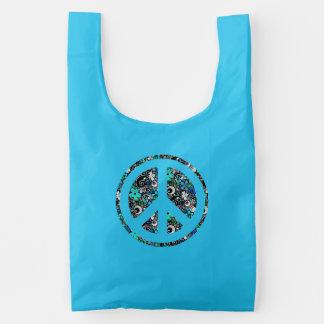 Flower Power Peace sign II + your backgr. & ideas Reusable Bag