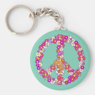 Flower Power Peace Sign Keychain
