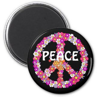 Flower Power Peace Sign Magnet