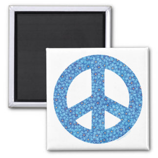 Flower Power Peace Sign 2 Inch Square Magnet