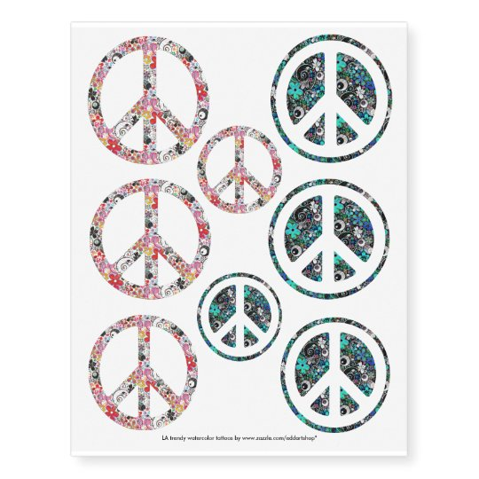 Flower Power Peace Sign Mix Your Ideas Temporary Tattoos Zazzle