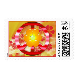 Flower Power Peace Sign Postage Stamps