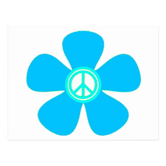 Flower Power Peace Sign Post Card